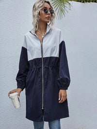 Women Two Tone Drawstring Zip Up Coat