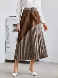 Women Two Tone Plaid Pleated Belted Skirt