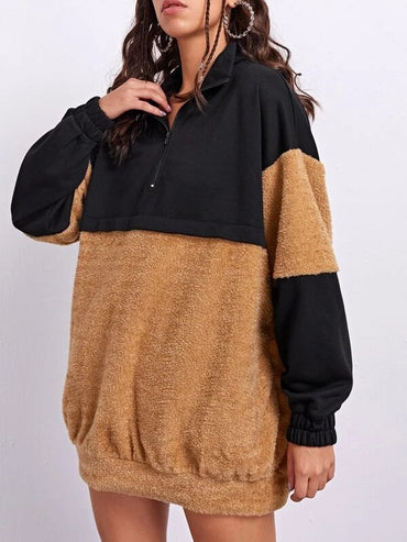 Women Two Tone Zip Half Placket Teddy Pullover