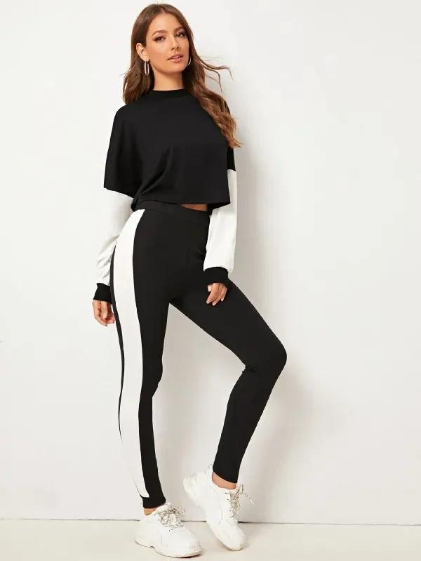 Two Tone Pullover & Leggings Set