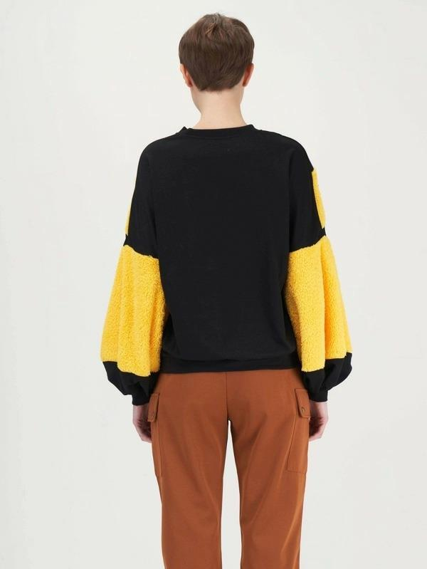 Two Tone Teddy Panel Balloon Sleeve Pullover