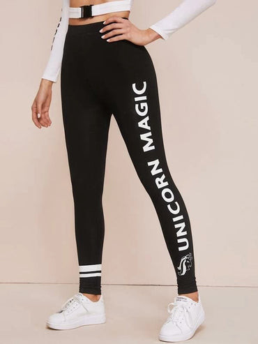 Unicorn & Slogan Graphic Leggings
