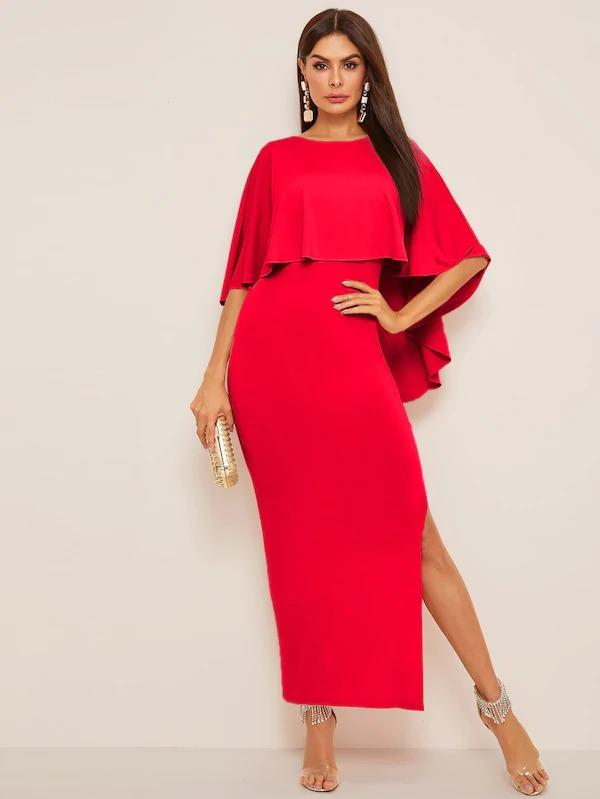 V-Cut Back Split Hem Cape Dress