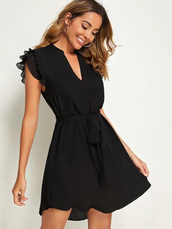 V-Cut Neck Layered Pleated Sleeve Belted Dress