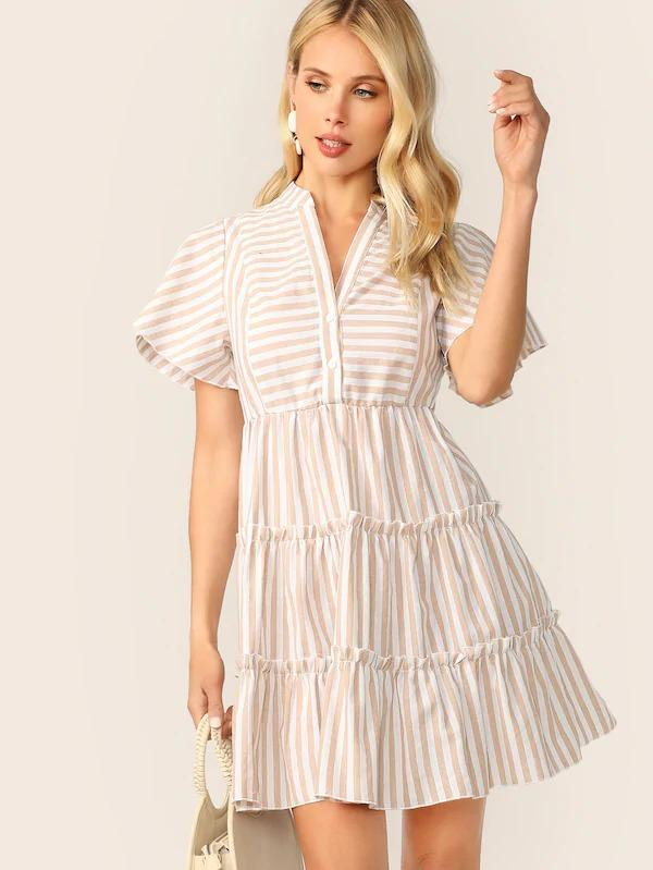 V-Cut Neck Layered Ruffle Hem Striped Dress