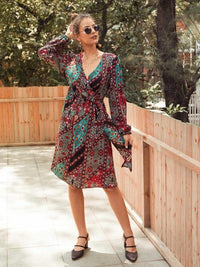 V-Neck Ditsy Floral Patchwork Midi Dress