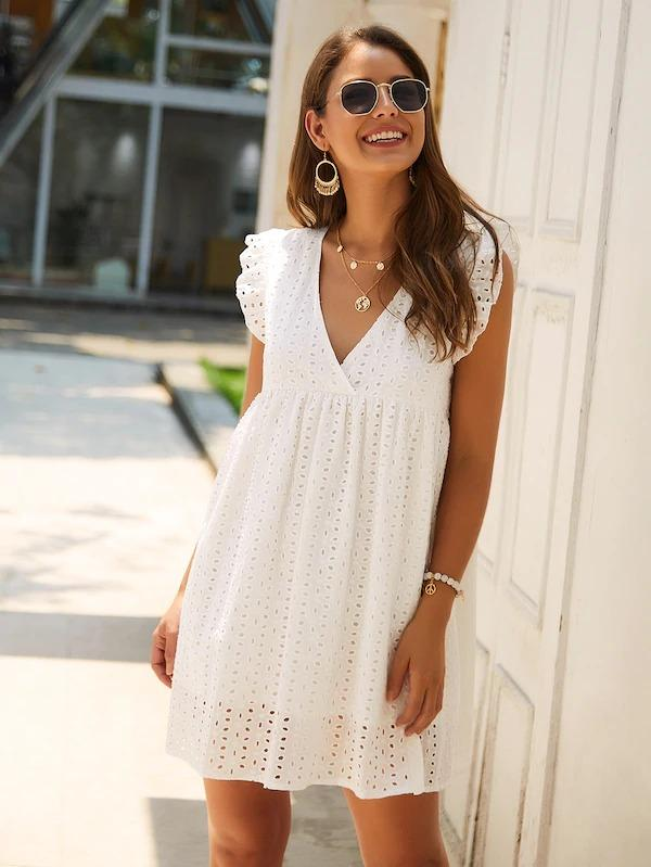 V-Neck Eyelet Embroidery Ruffle Dress