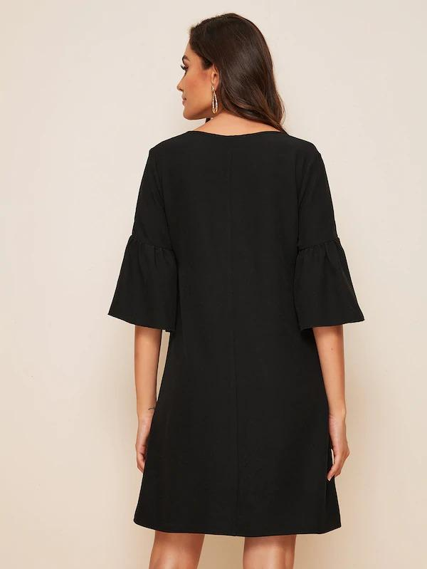V-Neck Flounce Sleeve Solid Dress