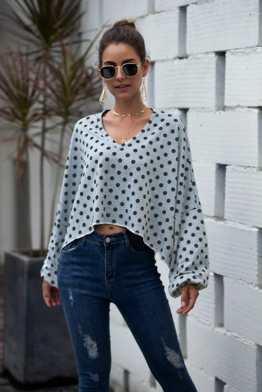 V-Neck Polka Dot Drop Shoulder Sweatshirt