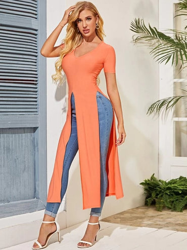 Women V-neck Slit Hem Solid Longline Tee