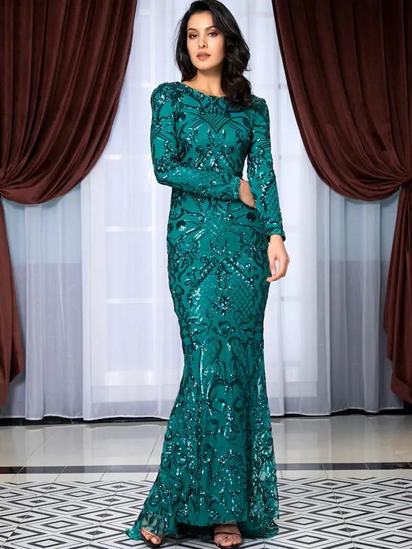 V Neck Back Sequin Floor Length Dress