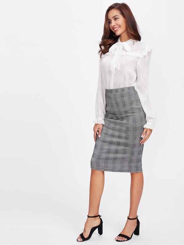 Vented Back Plaid Pencil Skirt