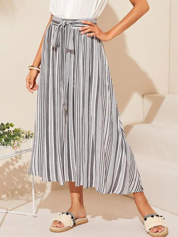 Vertical Striped Belted Skirt