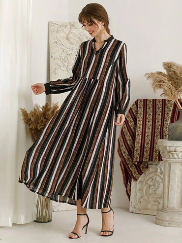 Women Vertical Striped Notched Neck Babydoll Dress
