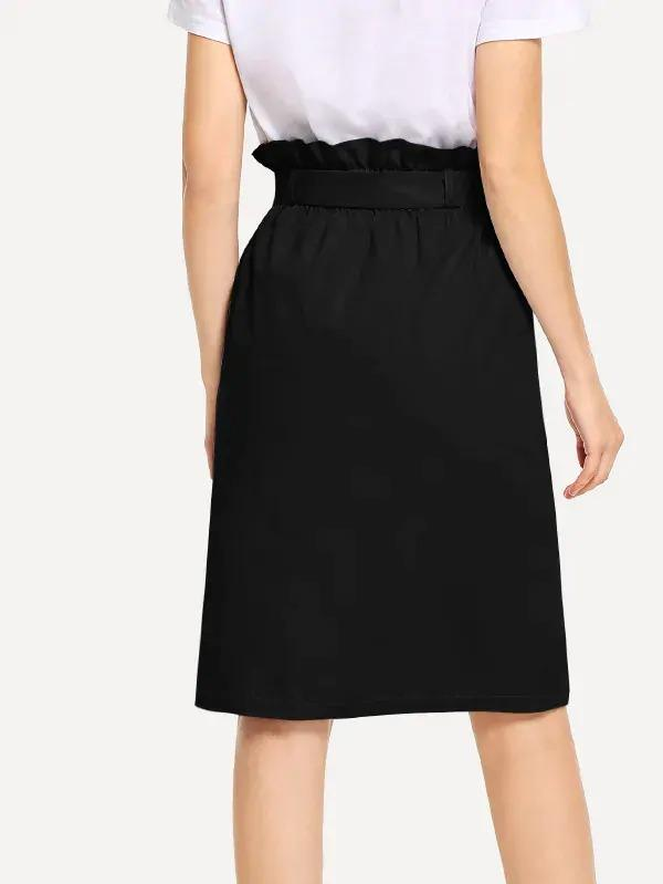 Waist Belted Button Ruffle Split Skirt