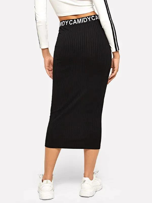 Waist Letter Ribbed Knit Skirt