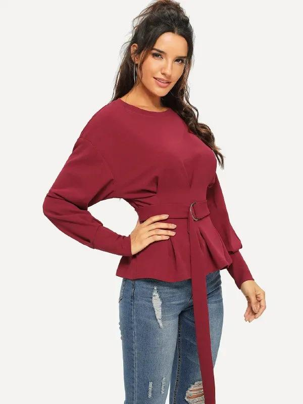 Waist Belted Pleated Peplum Pullover
