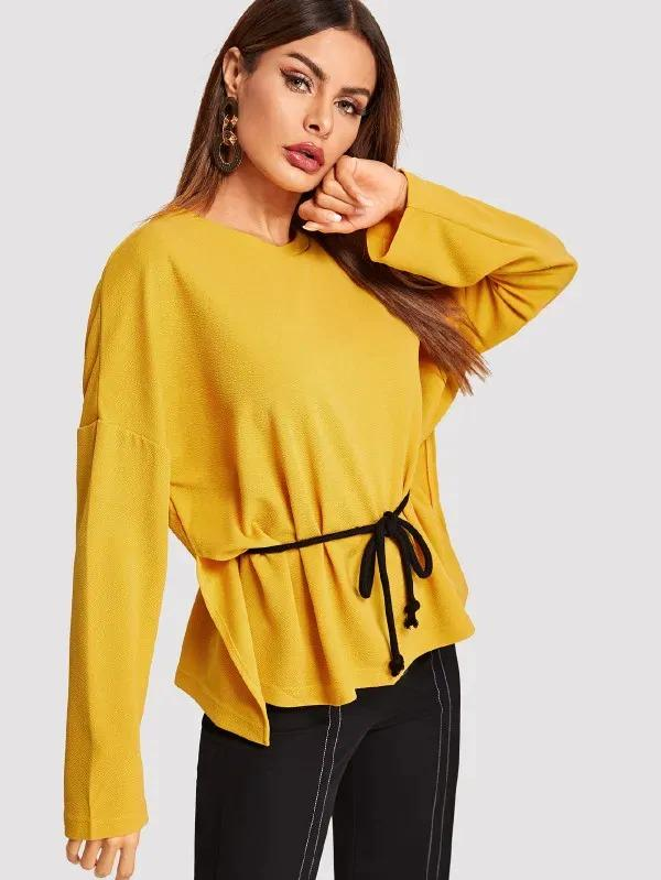 Waist Belted Solid Pullover