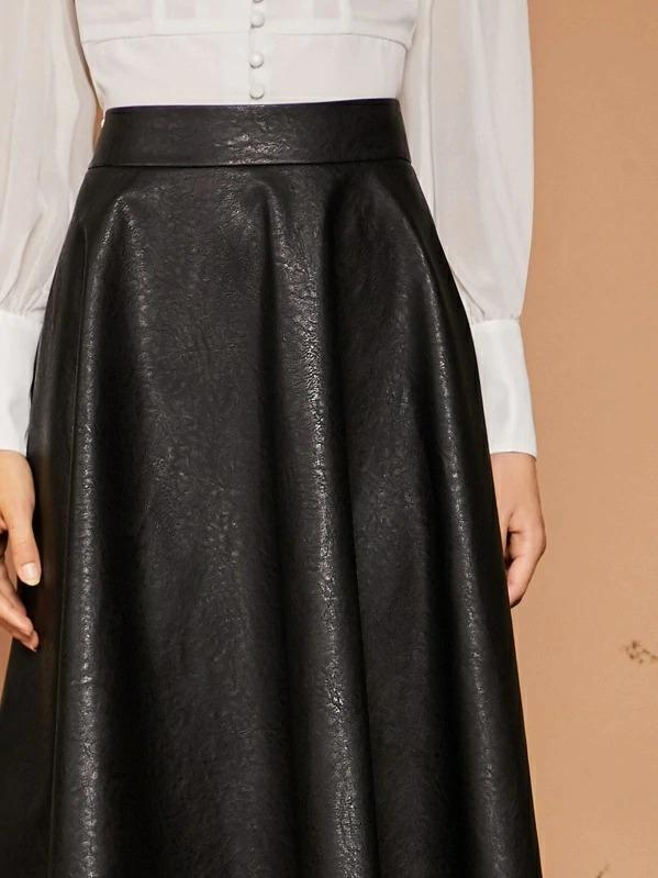 Wide Band Waist PU Plain Skirt