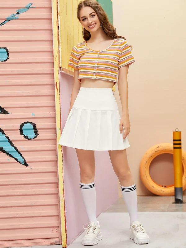 Wide Band Waist Pleated Skirt
