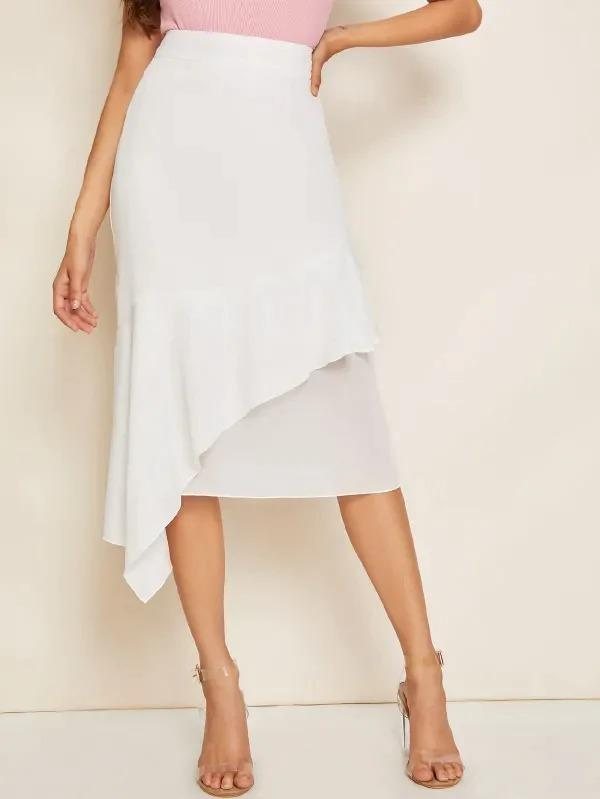 Wide Band Waist Ruffle Trim Asymmetrical Hem Skirt
