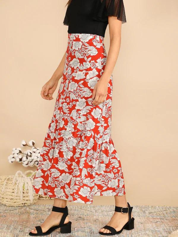 Wide Waist Single Breasted Flippy Hem Floral Skirt