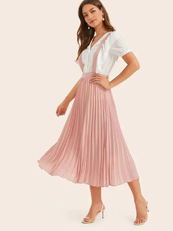 Wide Waistband Pleated Skirt With Strap