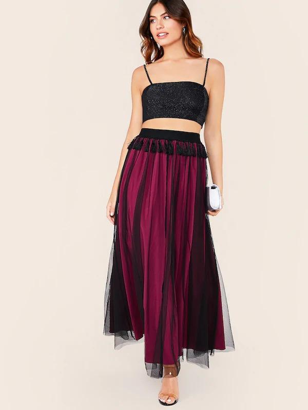 Wide Waistband Tassel Trim Mesh Overlay Skirt