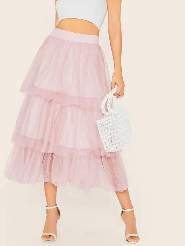 Wide Waistband Tiered Layered Mesh Skirt
