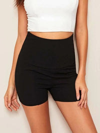 Women Wide Band Waist Skinny Shorts