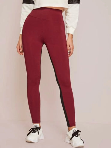 Wide Waistband Contrast Piping Colorblock Leggings