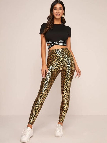 Wide Waistband Leopard Metallic Leggings