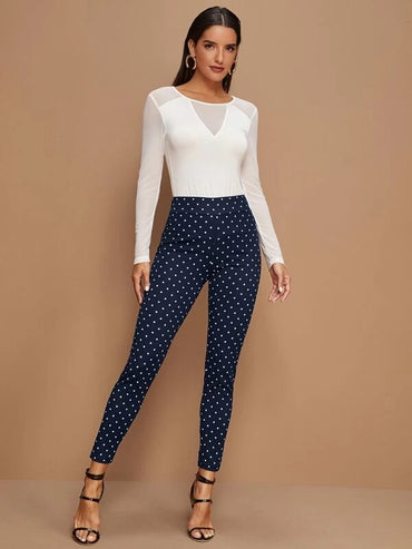 Wide Waistband Polka Dot Leggings