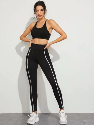 Wide Waistband Striped Skinny Leggings