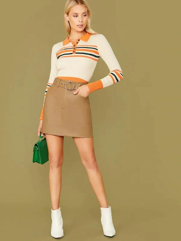 Woven Faux Leather Belted Mini Skirt