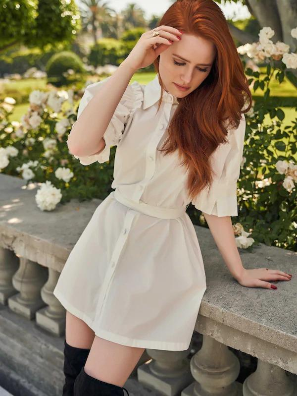 X Madelaine Frill Trim D-Ring Belted Puff Sleeve Shirt Dress