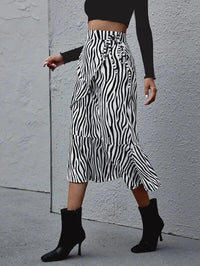 Women Zebra Stripe Tie Side Ruffle Hem Skirt