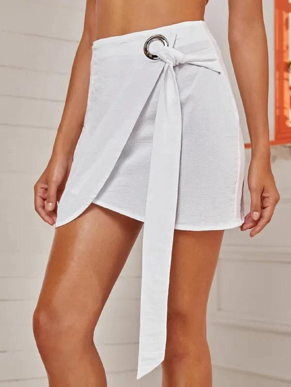 Zip Back Knot Side Wrap Skirt