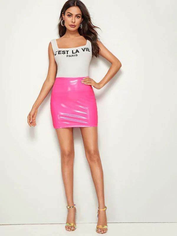 Zip Back PU Skinny Skirt