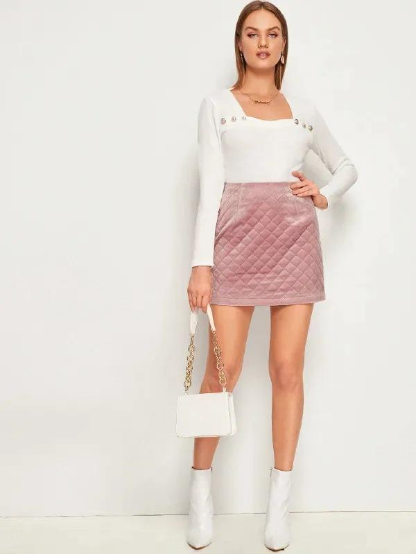 Zip Back Quilted Flannel Mini Skirt