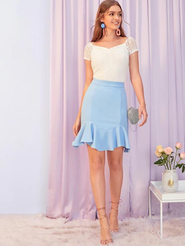 Zip Back Ruffle Hem Skirt