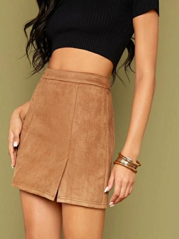 Zip Back Slit Hem Skirt