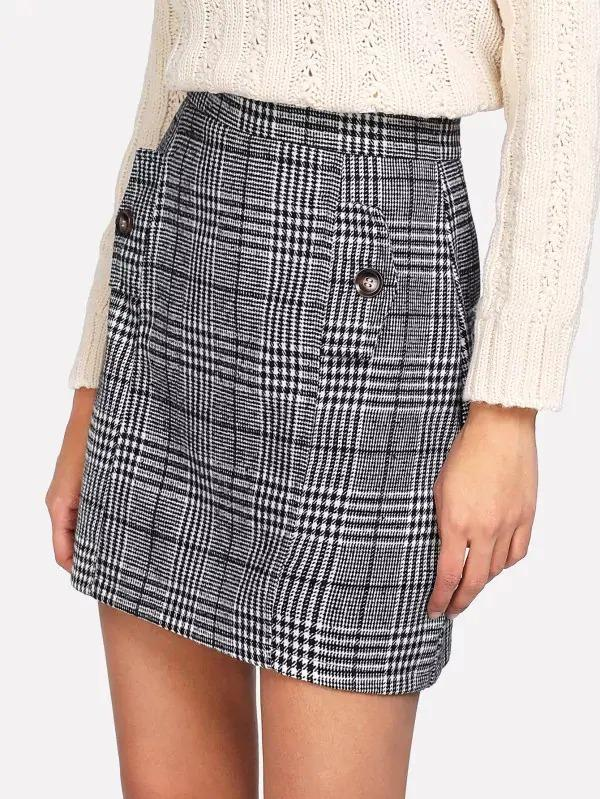 Zip Back Wales Check Skirt