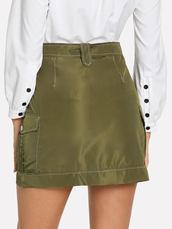Zip Front Self Tie Waist Skirt