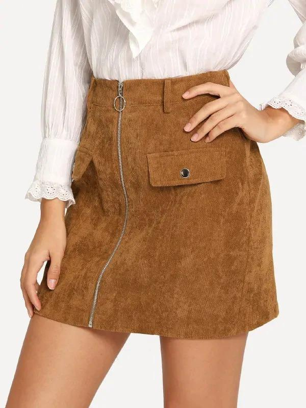 Zip & Pocket Front Cord Skirt