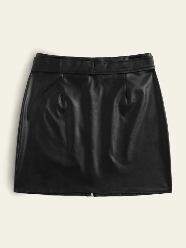 Zip Through Belted PU Skirt