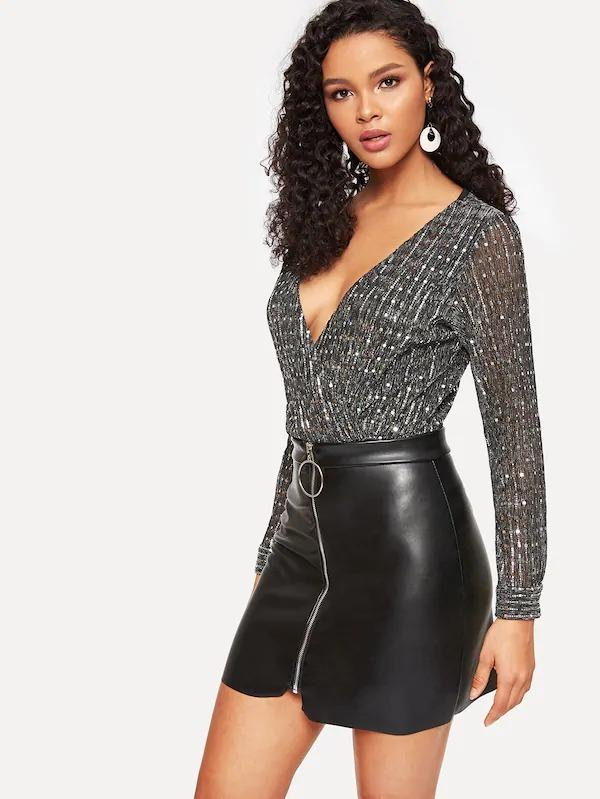 Zip Up Asymmetrical Hem PU Skirt