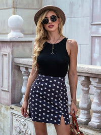 Women Zip Back Daisy Floral Slit Hem Skirt