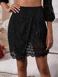 Women Zip Back Fringe Wrap Lace Skirt