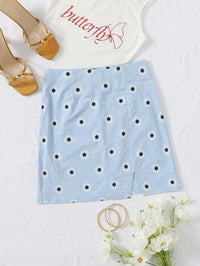 Women Zip Back Split Hem Floral Skirt